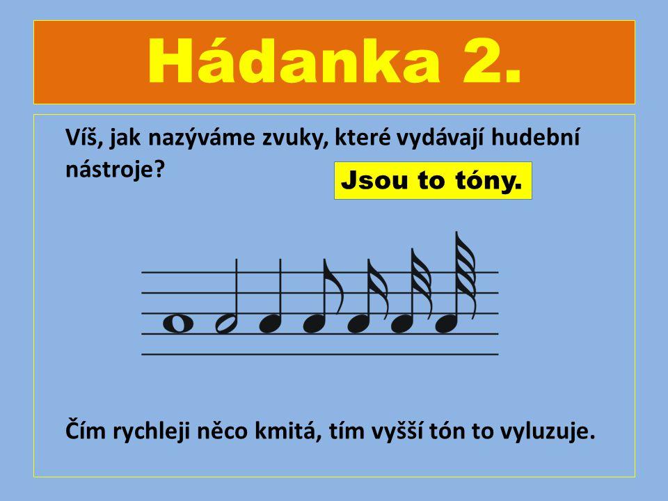 Hádanka 2. Víš, jak nazýváme zvuky, které vydávají hudební nástroje