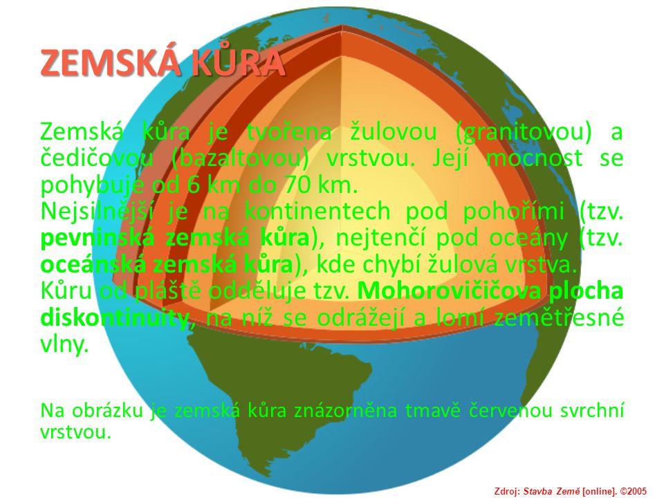 ZEMSKÁ KŮRA Zemská kůra je tvořena žulovou (granitovou) a čedičovou (bazaltovou) vrstvou. Její mocnost se pohybuje od 6 km do 70 km.