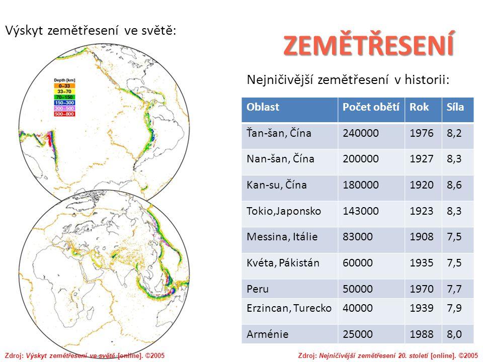 ZEMĚTŘESENÍ Výskyt zemětřesení ve světě: