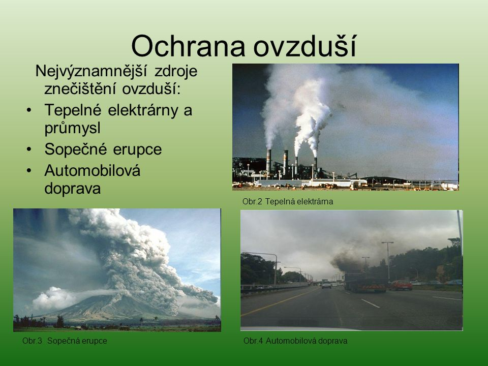 Ochrana ovzduší Tepelné elektrárny a průmysl Sopečné erupce