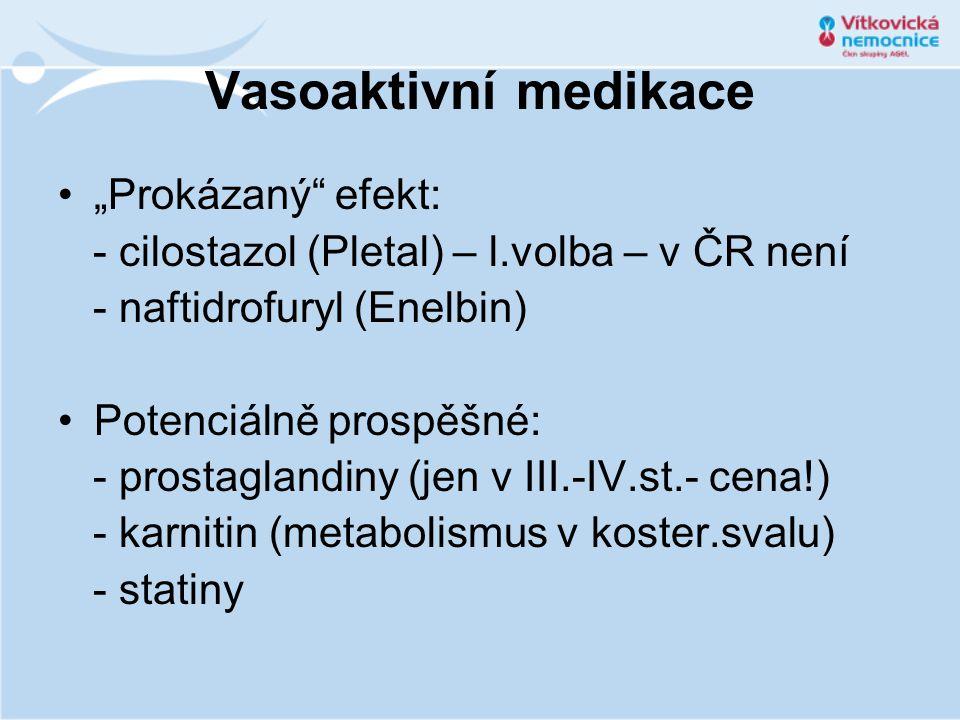 """Vasoaktivní medikace """"Prokázaný efekt:"""