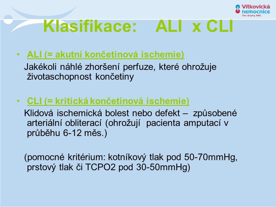 Klasifikace: ALI x CLI ALI (= akutní končetinová ischemie)