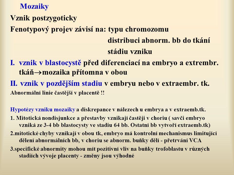 Fenotypový projev závisí na: typu chromozomu
