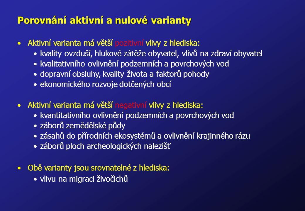 Porovnání aktivní a nulové varianty