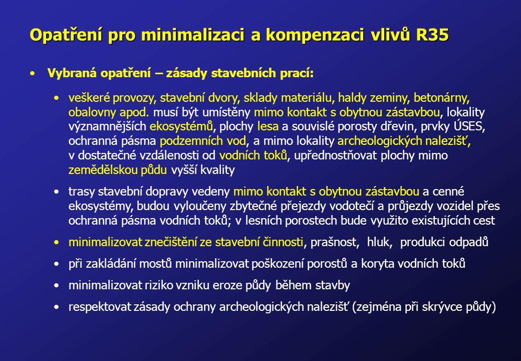 Opatření pro minimalizaci a kompenzaci vlivů R35