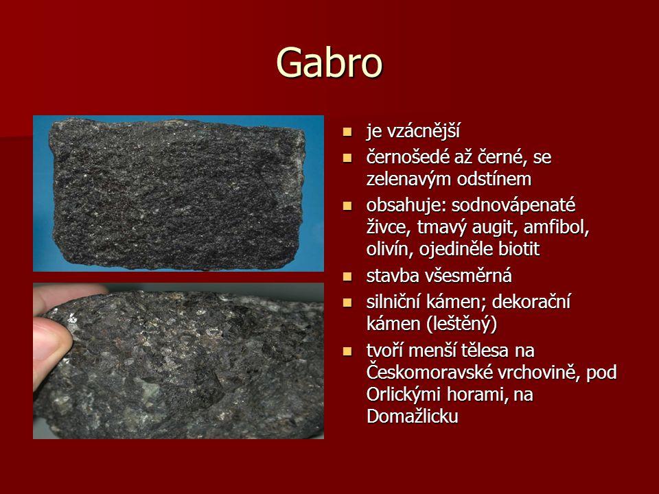 Gabro je vzácnější černošedé až černé, se zelenavým odstínem