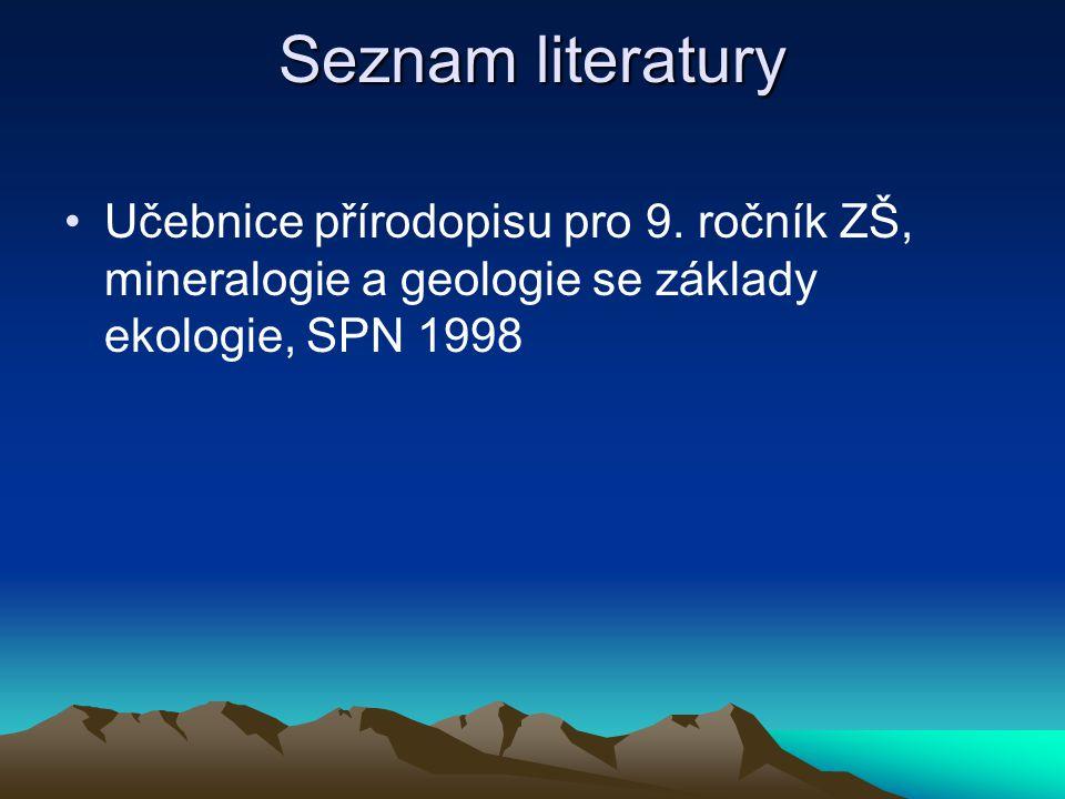 Seznam literatury Učebnice přírodopisu pro 9.