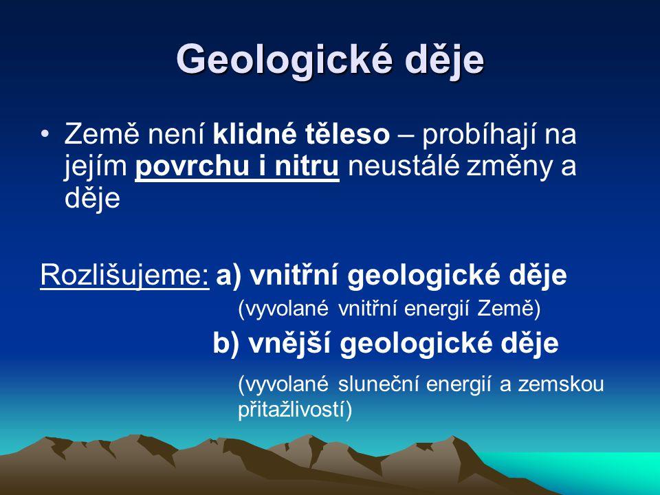 Geologické děje Země není klidné těleso – probíhají na jejím povrchu i nitru neustálé změny a děje.
