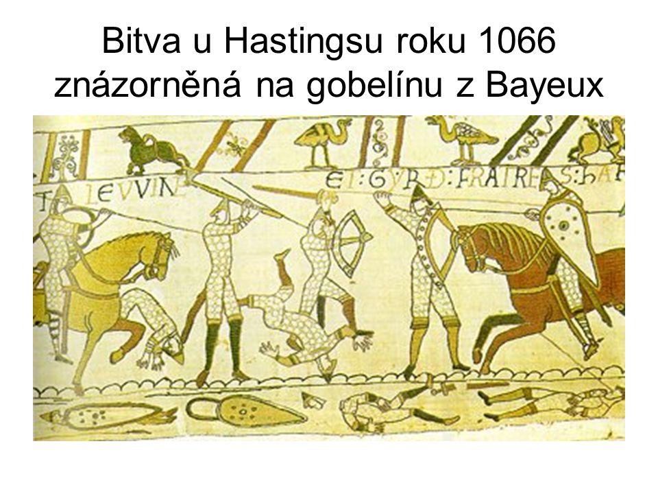 Bitva u Hastingsu roku 1066 znázorněná na gobelínu z Bayeux