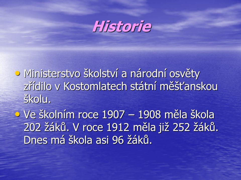 Historie Ministerstvo školství a národní osvěty zřídilo v Kostomlatech státní měšťanskou školu.