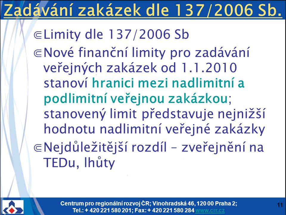 Zadávání zakázek dle 137/2006 Sb.