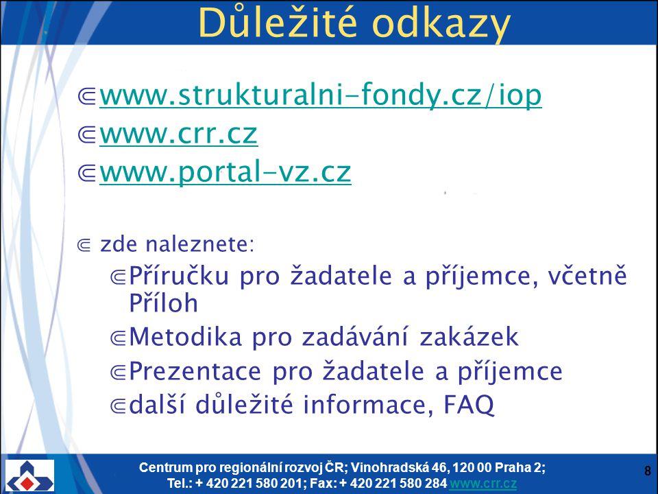 Důležité odkazy www.strukturalni-fondy.cz/iop www.crr.cz