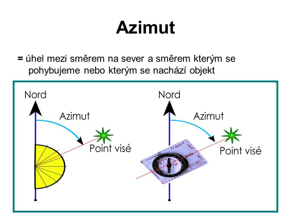 Azimut = úhel mezi směrem na sever a směrem kterým se pohybujeme nebo kterým se nachází objekt