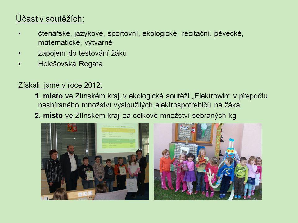 Účast v soutěžích: čtenářské, jazykové, sportovní, ekologické, recitační, pěvecké, matematické, výtvarné.