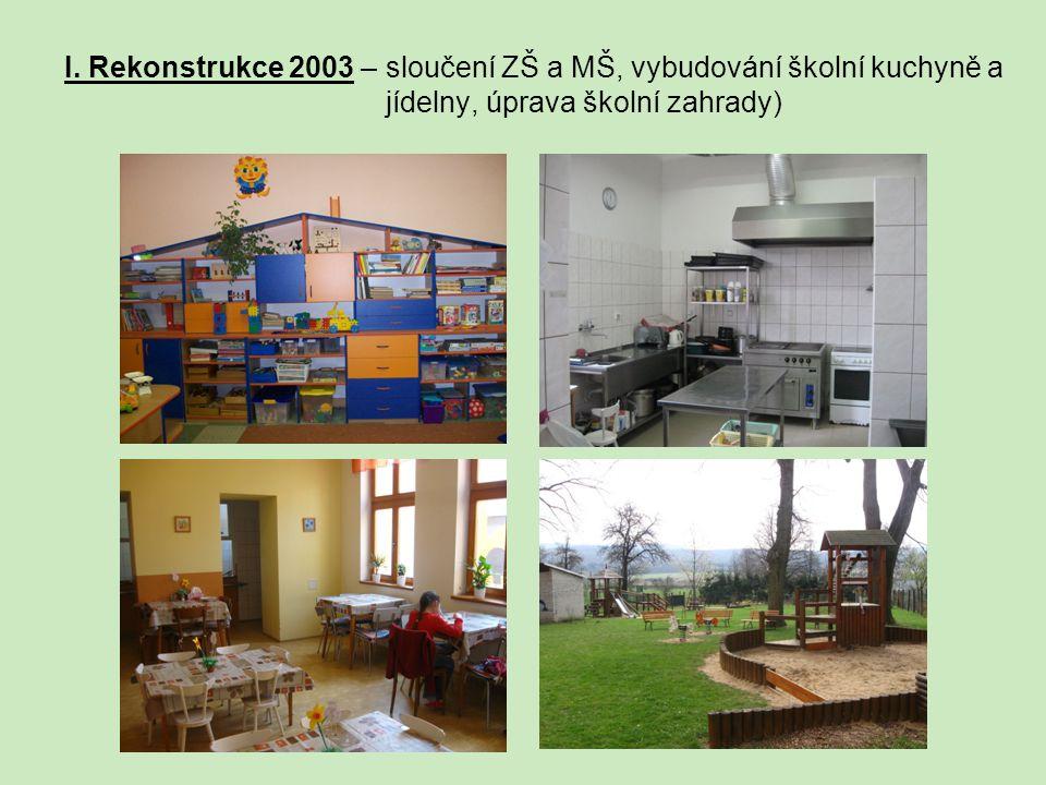 I. Rekonstrukce 2003 – sloučení ZŠ a MŠ, vybudování školní kuchyně a