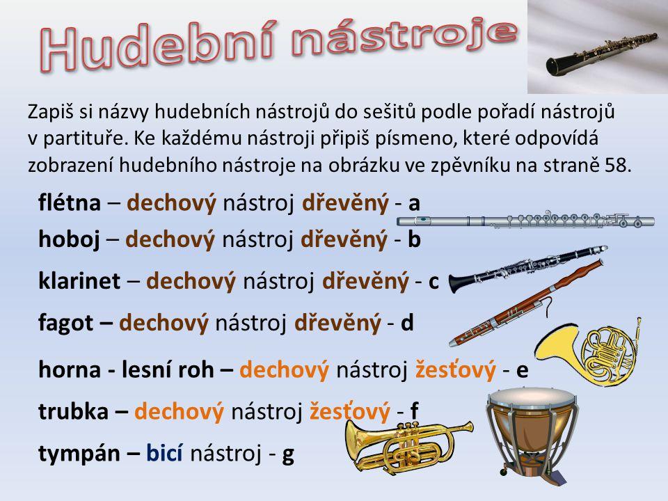 Hudební nástroje flétna – dechový nástroj dřevěný - a