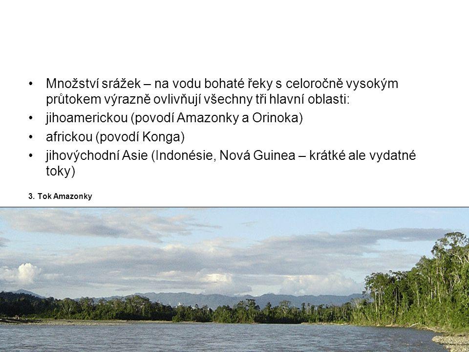 jihoamerickou (povodí Amazonky a Orinoka) africkou (povodí Konga)