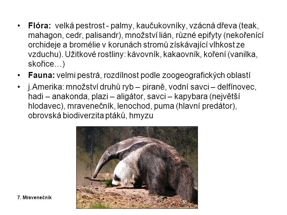 Fauna: velmi pestrá, rozdílnost podle zoogeografických oblastí