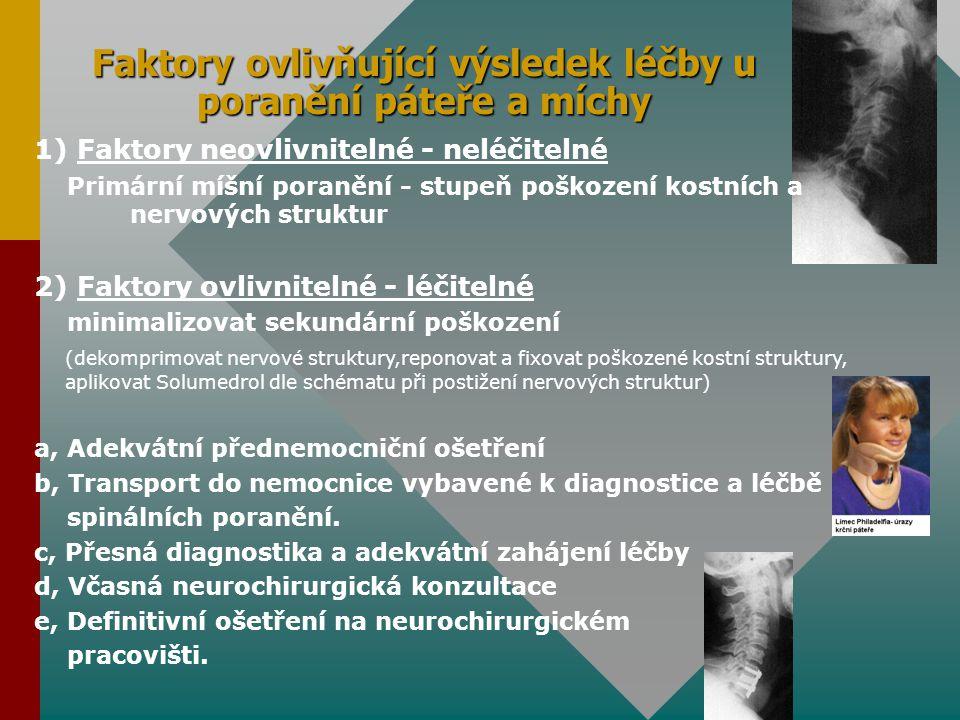 Faktory ovlivňující výsledek léčby u poranění páteře a míchy
