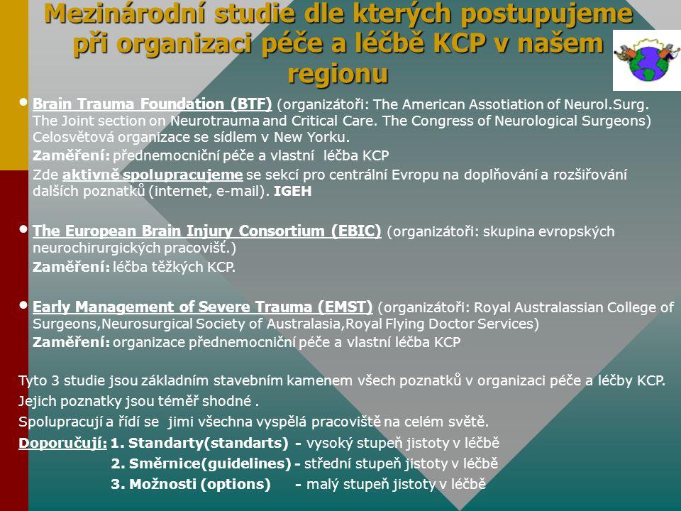 Mezinárodní studie dle kterých postupujeme při organizaci péče a léčbě KCP v našem regionu