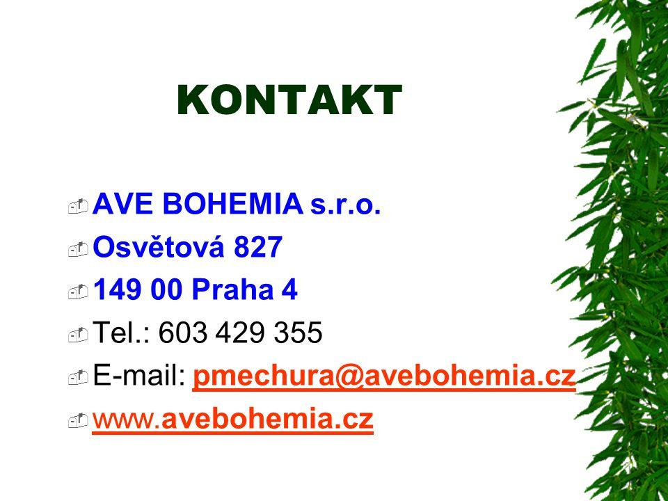 KONTAKT AVE BOHEMIA s.r.o. Osvětová 827 149 00 Praha 4