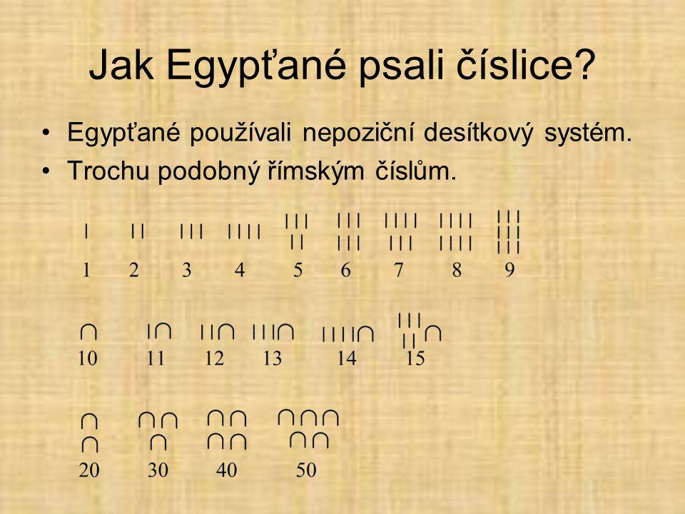 Jak Egypťané psali číslice