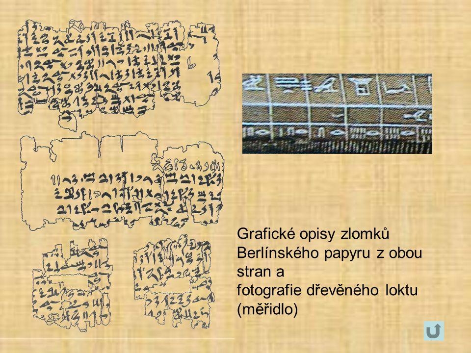 Grafické opisy zlomků Berlínského papyru z obou stran a