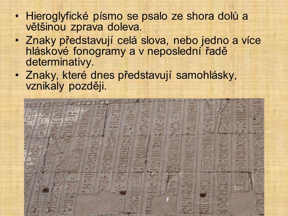 Hieroglyfické písmo se psalo ze shora dolů a většinou zprava doleva.