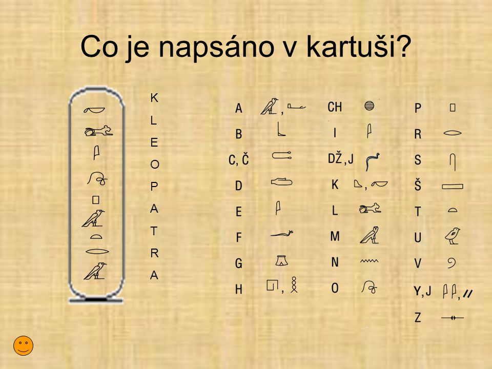 Co je napsáno v kartuši K L E O P A T R