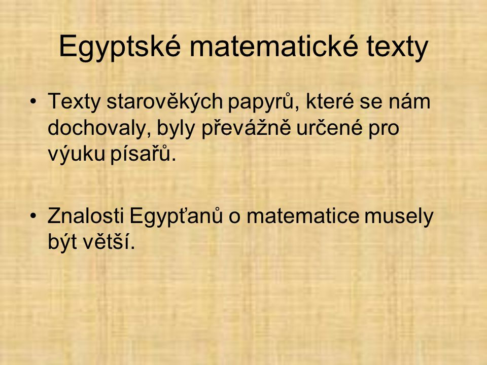 Egyptské matematické texty