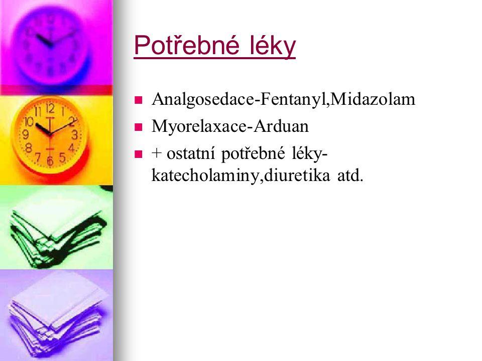 Potřebné léky Analgosedace-Fentanyl,Midazolam Myorelaxace-Arduan
