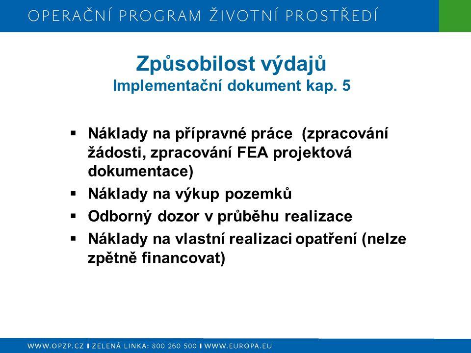 Způsobilost výdajů Implementační dokument kap. 5