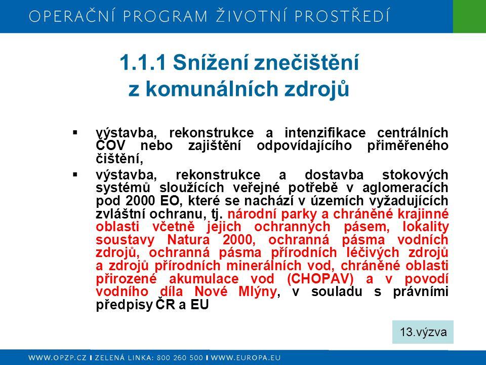 1.1.1 Snížení znečištění z komunálních zdrojů