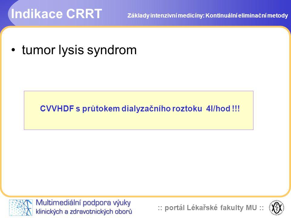 CVVHDF s průtokem dialyzačního roztoku 4l/hod !!!