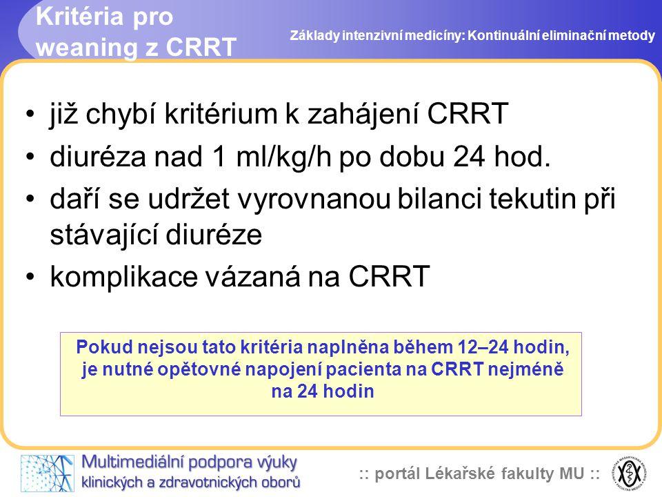 Kritéria pro weaning z CRRT