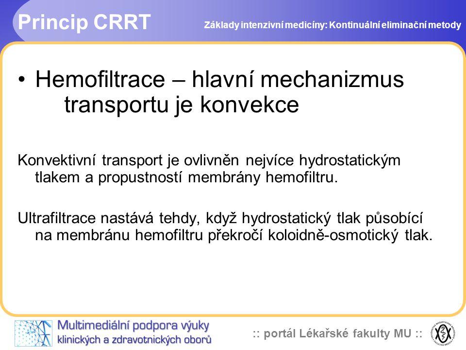 Hemofiltrace – hlavní mechanizmus transportu je konvekce