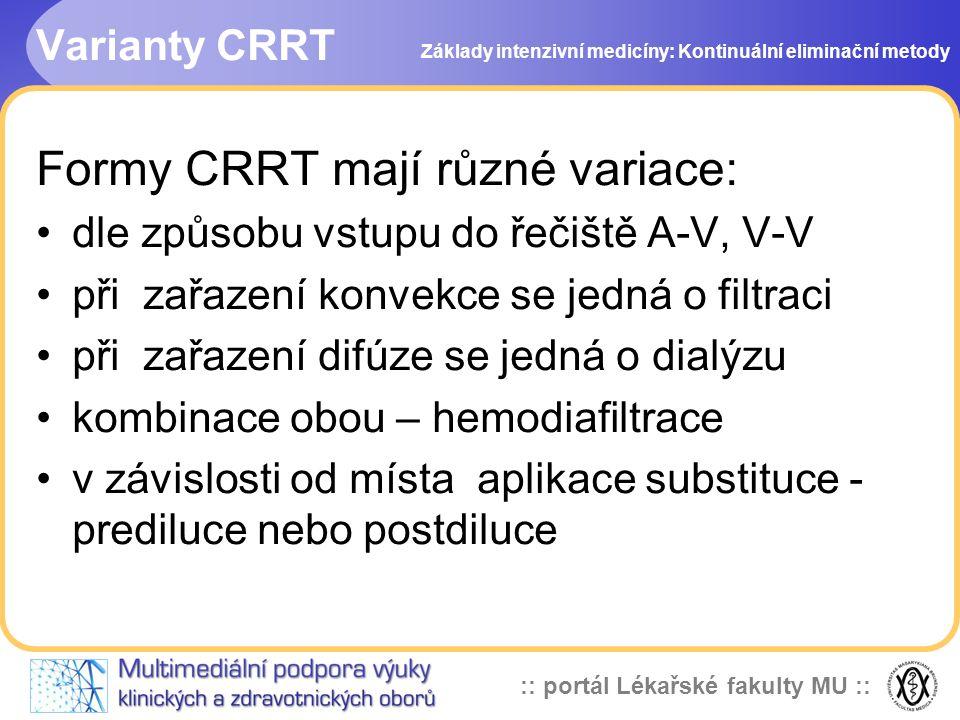Formy CRRT mají různé variace: