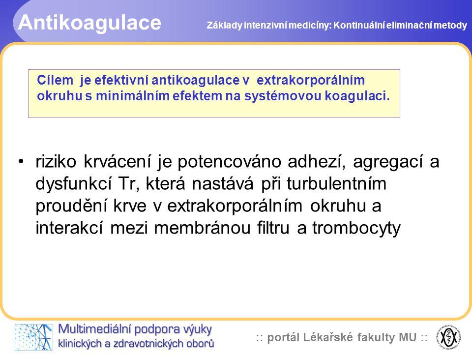 Antikoagulace Základy intenzivní medicíny: Kontinuální eliminační metody.