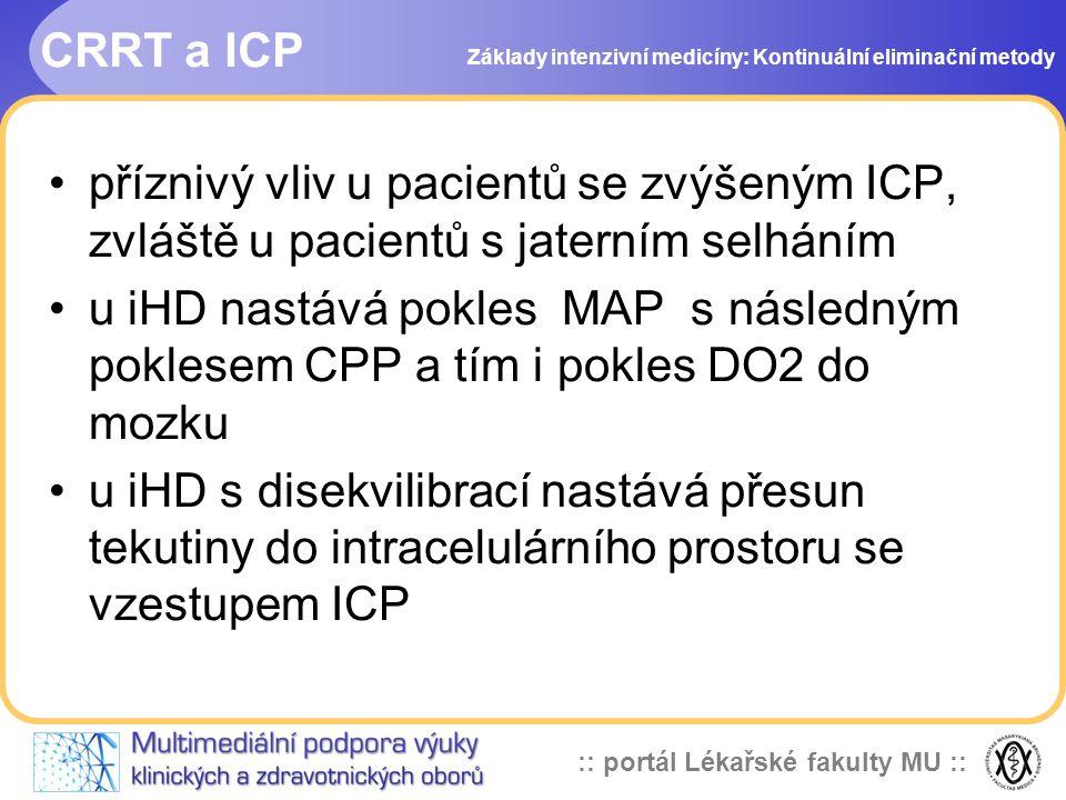 CRRT a ICP Základy intenzivní medicíny: Kontinuální eliminační metody.