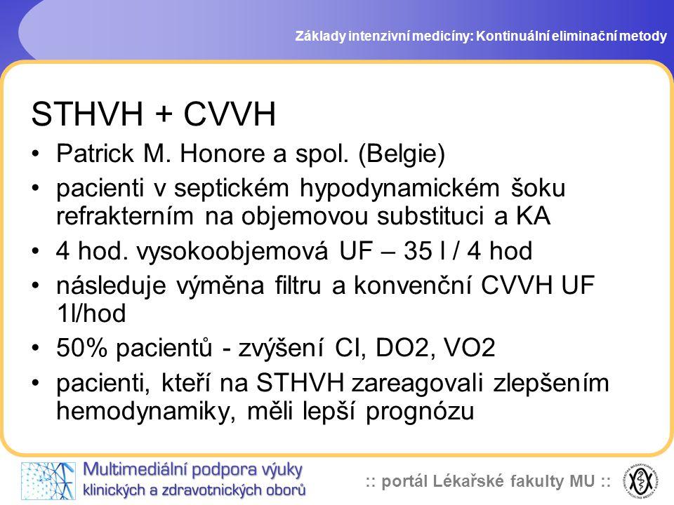 STHVH + CVVH Patrick M. Honore a spol. (Belgie)