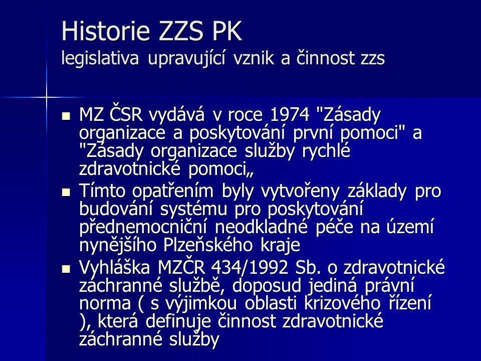 Historie ZZS PK legislativa upravující vznik a činnost zzs