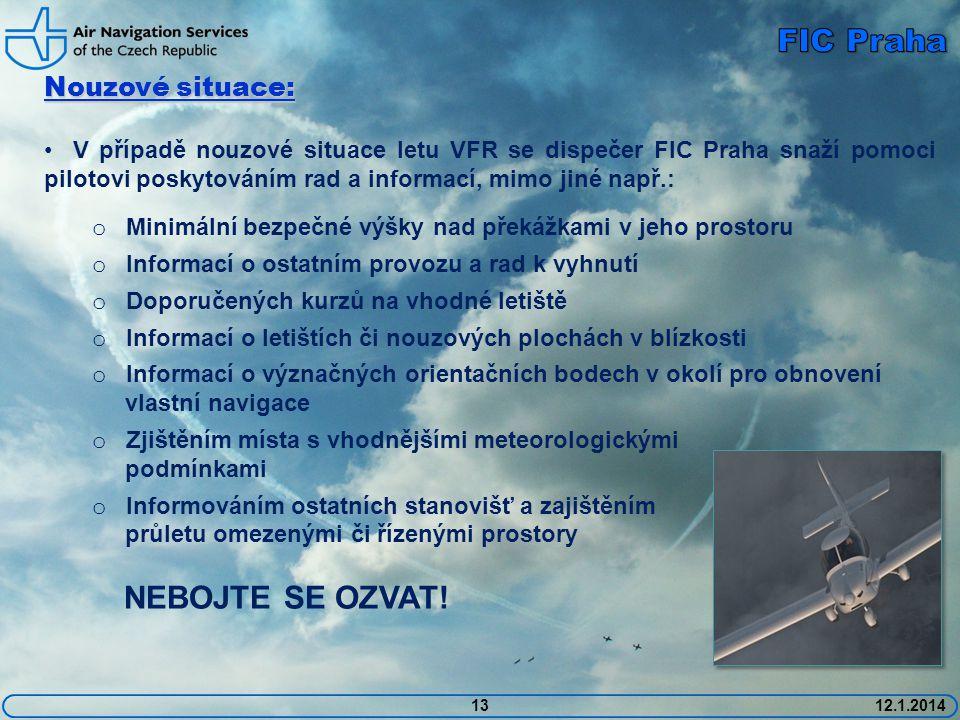 FIC Praha Nouzové situace: