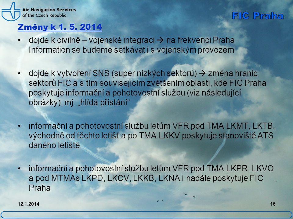 Změny k 1. 5. 2014 FIC Praha. dojde k civilně – vojenské integraci  na frekvenci Praha Information se budeme setkávat i s vojenským provozem.