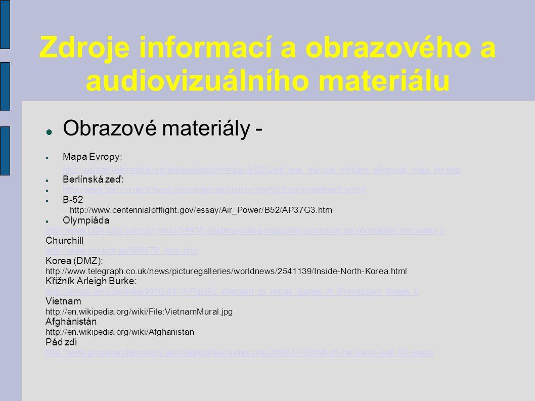 Zdroje informací a obrazového a audiovizuálního materiálu