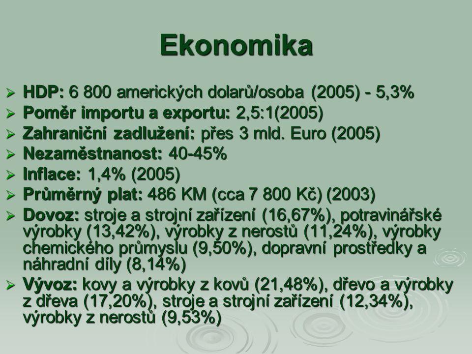 Ekonomika HDP: 6 800 amerických dolarů/osoba (2005) - 5,3%