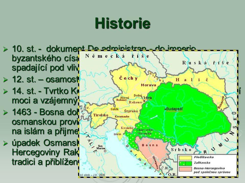 Historie 10. st. - dokument De administran - do imperio byzantského císaře Konstantina VII. mluví o zemi Bosoně, spadající pod vliv srbských vládců.