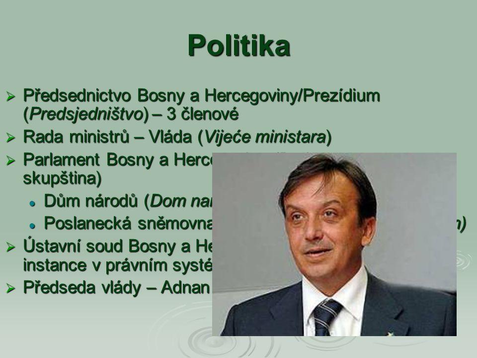 Politika Předsednictvo Bosny a Hercegoviny/Prezídium (Predsjedništvo) – 3 členové. Rada ministrů – Vláda (Vijeće ministara)