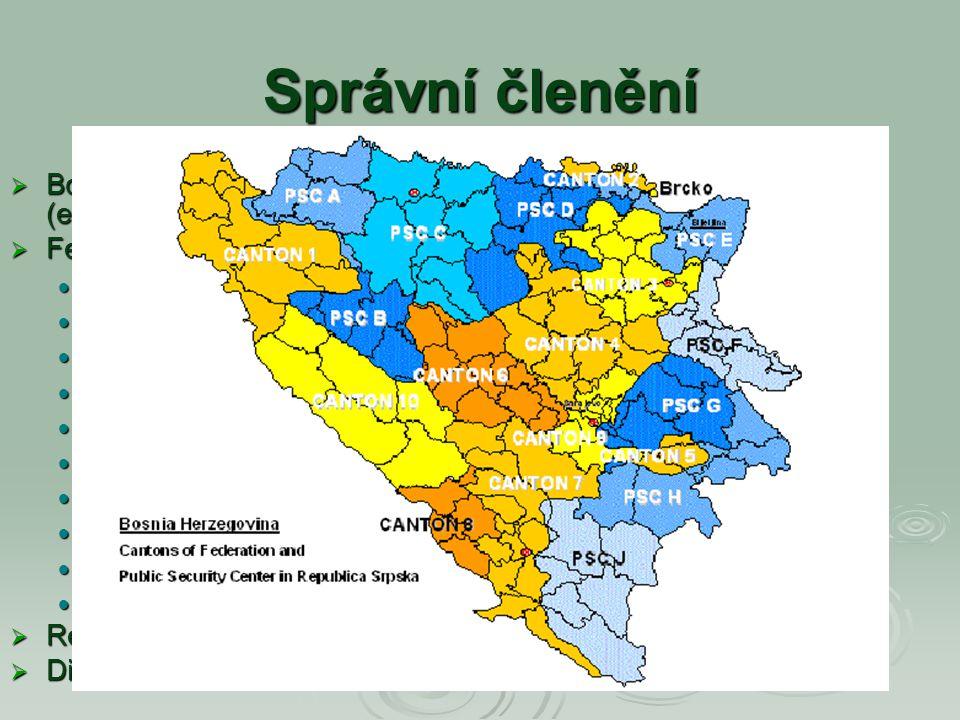 Správní členění Bosna a Hercegovina je rozdělena na dvě samosprávní jednotky (entity) a nezávislý Distrikt Brčko, patřící oběma entitám.