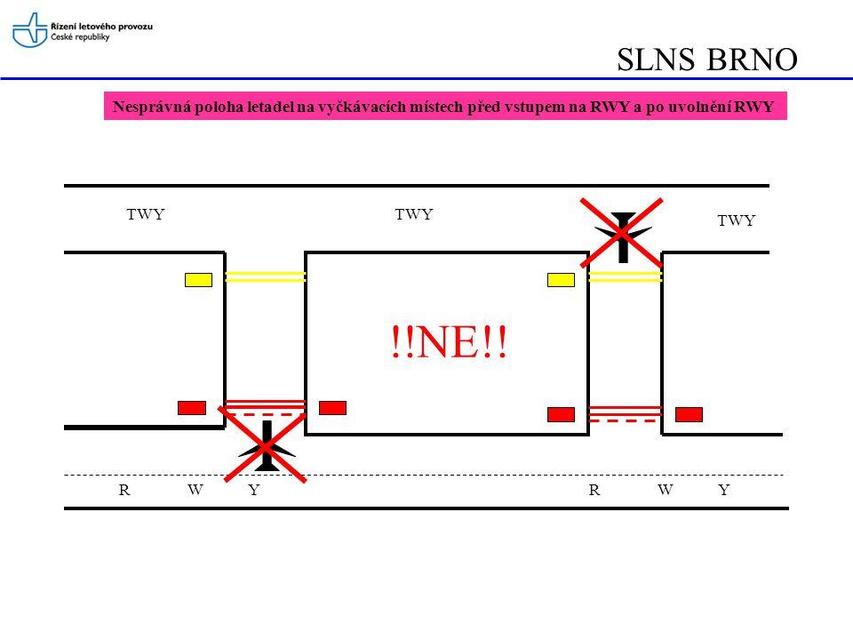 SLNS BRNO Nesprávná poloha letadel na vyčkávacích místech před vstupem na RWY a po uvolnění RWY. TWY.