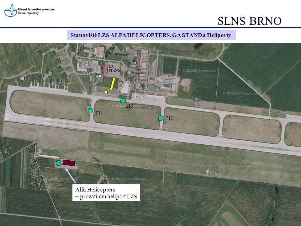 SLNS BRNO Stanoviště LZS ALFA HELICOPTERS, GA STAND a Heliporty H3 H1